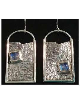 Sterling Silver Large Moonstone Earrings