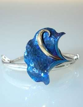 Sterling Silver Titanium Blue Flower Bangle