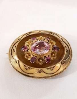 Rose quartz brooch antique gold