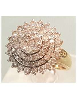 antique gold diamond cluster ring