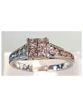 White gold square diamond ring