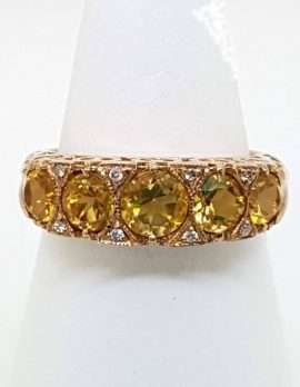 gold ring 9ct with citrine and diamonds