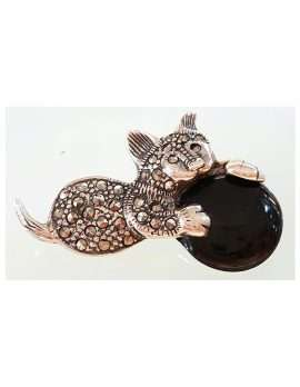 Sterling Silver Marcasite and Onyx Cat Brooch