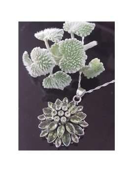 Sterling Silver Large Peridot Cluster Flower Pendant on Chain