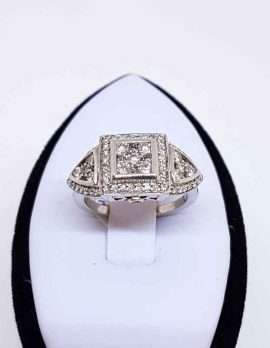 14ct White Gold Art Deco Design Diamond Ring