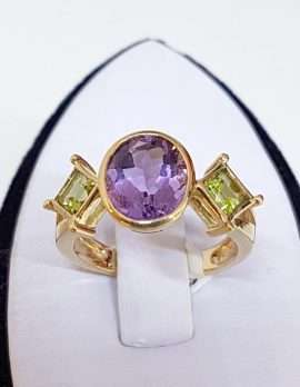gold necklace amethyst and diamonds with decorative crest design