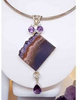 Amethyst Stones and Amethyst Slice Sterling Silver Choker Necklace