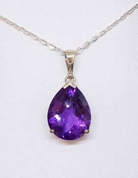 Large Amethyst Drop Pendant Necklace on Sterling Silver chain