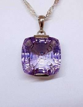 Large Square Amethyst Pendant Necklace on a Sterling Silver chain.