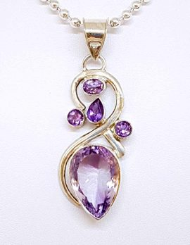 Large Drop and four smaller Amethyst Sterling Silver Earrings