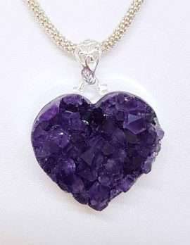 Amethyst Love Heart - Sterling Silver chain