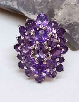 Oval shaped Amethyst Cluster Silver Sterling Silver
