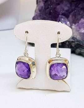 Square Sterling Silver Amethyst Earrings
