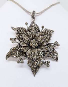 Marcasite Flower Pendant with Sterling Silver chain.