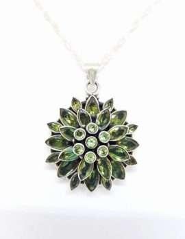 Sterling Silver Peridot Flower necklace