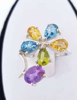 Sterling Silver ring with Amethyst, Topaz, Peridot and Citrine Flower Ring