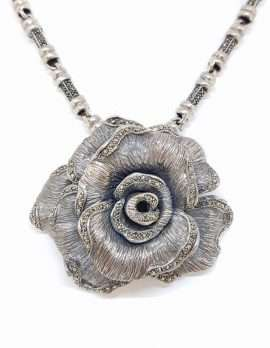 Marcasite and sterling silver rose necklace
