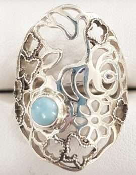 Larimar and Silver flower ring