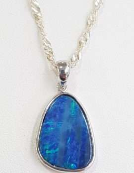 Blue opal silver pendant necklace