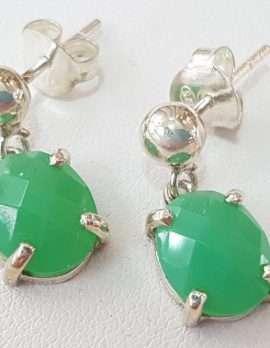 chrysophrase silver earrings