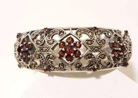 Ornate Sterling Silver Garnet and Marcasite Wide Hinged Bangle