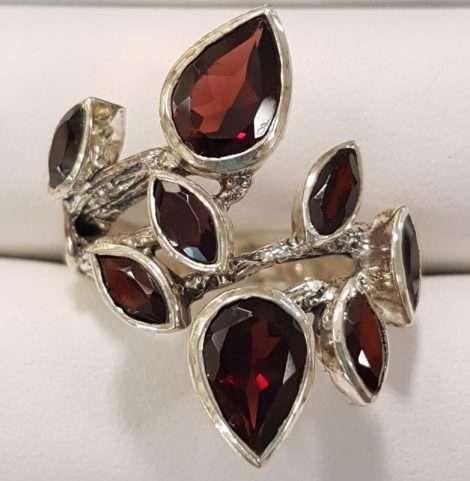 Sterling Silver Garnets Ring - Leaf Design