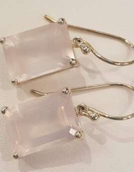 large rectangular rose-quartz and gold earrings