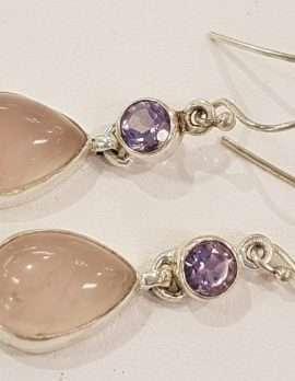 rose-quartz, amethyst and gold drop earrings