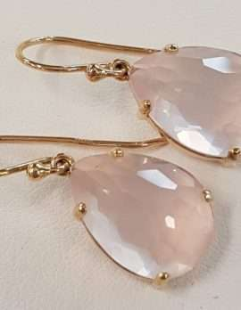 rose-quartz and gold drop earrings