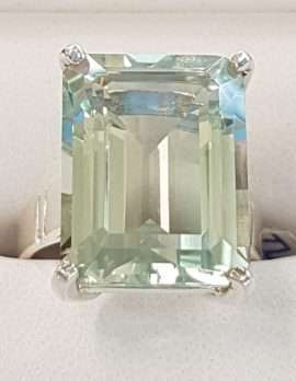 Sterling Silver Green Amethyst Rectangle Ring