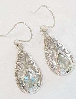 Sterling Silver Green Amethyst Filigree Earrings