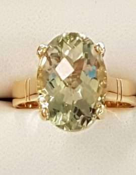 9ct Gold Green Amethyst Oval Ring