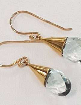 9ct Gold Green Amethyst Earrings