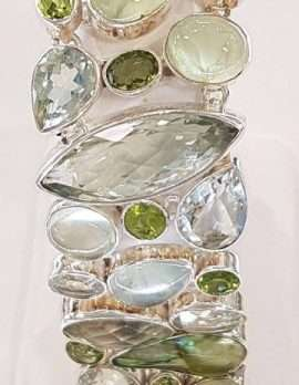 Sterling Silver Green Amethyst, Prehonite and Peridot Wide Bracelet