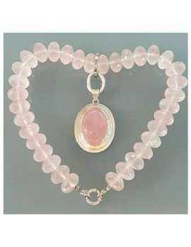 Sterling Silver Oval Rose Quartz Pendant on Heavy Bead Necklace
