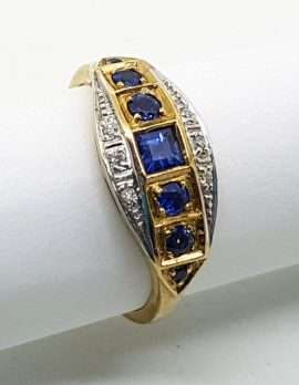 9ct gold ring square blue sapphire with 6 round sapphires & diamonds
