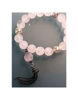 rose quartz bead necklace
