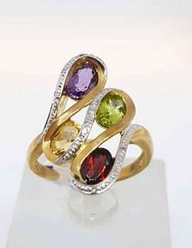 9ct Gold Amethyst, Peridot, Citrine and Garnet with Diamonds Ring - Large Swirl