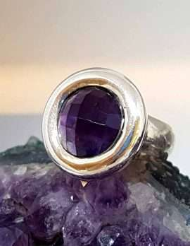 Sterling Silver Large Round Faceted Amethyst Ring - Chunky / Heavy