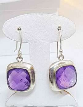 Square Sterling Silver Amethyst Earrings