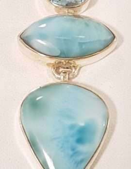 Larimar and Topaz Gol dPendant