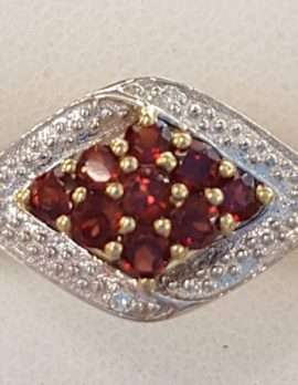 9ct Gold Marquis Shape Garnet and Diamond Cluster Ring