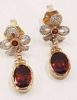 9ct Gold Garnet and Diamond Stud / Drop Earrings with Ornate Ribbon Design