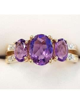 Triple oval amethyst and diamond gold ring