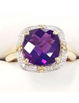Gold ring featuring single square amethyst surrounded by diamonds