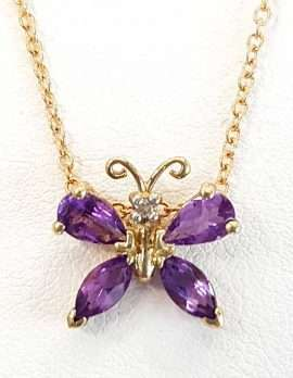 Amethyst and gold butterfly necklace