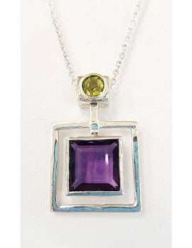 Sterling Silver Square Amethyst with Green Peridot Square Pendant on Chain