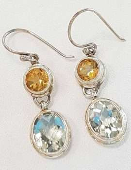 Sterling Silver Green Amethyst & Citrine Earrings