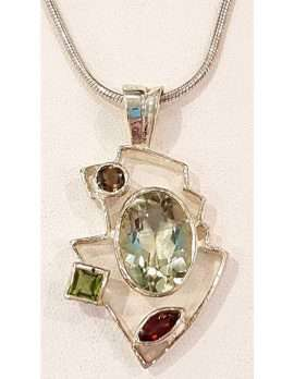 Sterling Silver Green Amethyst, Peridot, Garnet and Smokey Quartz Pendant Chain