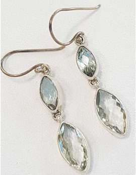 Sterling Silver Green Amethyst Earrings - Long Drop Marquis Shape